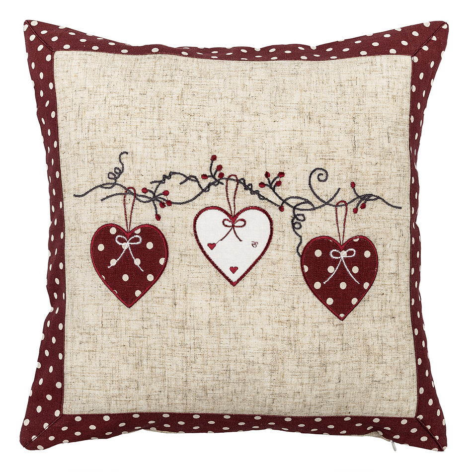 BO-MA Trading Vianočná obliečka na vankúšik Srdiečka bodka červená, 40 x 40 cm