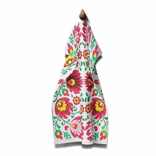 Domarex Kuchyňská utěrka Folk růžová, 45 x 70 cm
