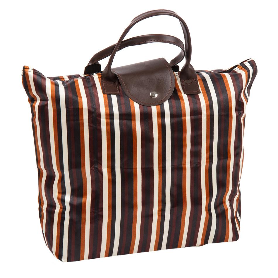 Skládací taška Proužek, hnědá