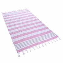 DecoKing Ręcznik plażowy Santorini fuksja, 90 x 170 cm