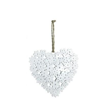 Závěsné srdce s prořezy, bílé, bílá, 10 x 10 cm