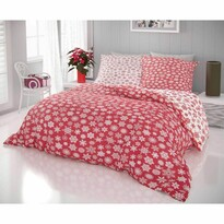 Kvalitex Hópelyhek pamut ágynemű, fehér-piros, 140 x 200 cm, 70 x 90 cm