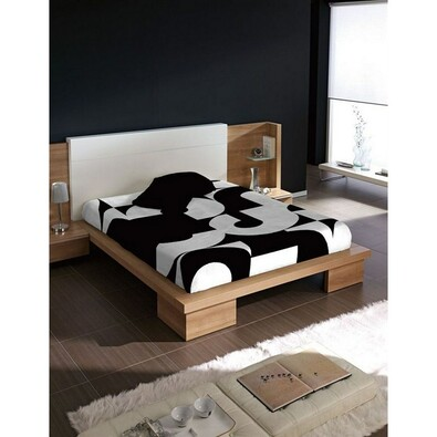 Španělská deka Piel Numeros, černá, 220 x 240 cm, bílá + černá