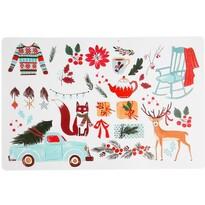 Vianočné prestieranie Zvieratká biela, 28 x 43 cm