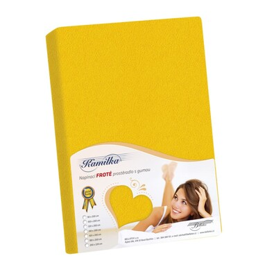 Froté prostěradlo Kamilka žlutá, 100 x 200 cm