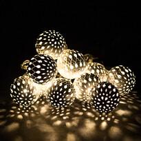 Lampki świetlne LED z 10 metalowymi kulkami, biały