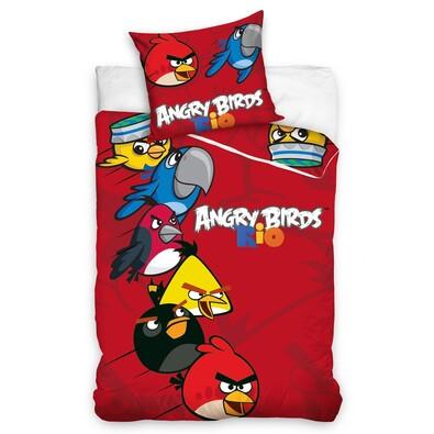 Dětské bavlněné povlečení Angry Birds Rio red, 140 x 200 cm, 70 x 80 cm