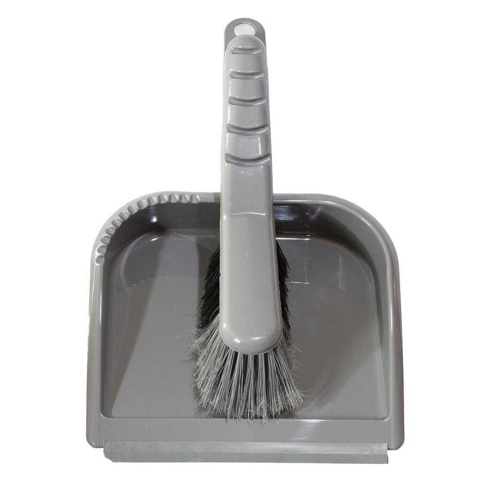 Fotografie Smetáček a lopatka TRENDY s gumovou lištou, stříbrný