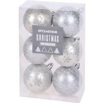 Sada vánočních ozdob Pachino stříbrná, 6 ks,pr. 6 cm