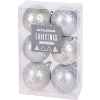 Set decorațiuni Crăciun Pachino, argintiu, 6 buc.,diam. 6 cm