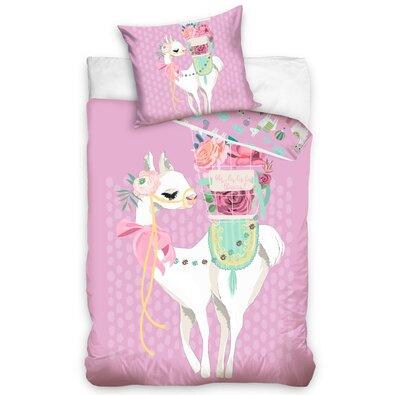 Lama Pink pamut ágynemű, 140 x 200 cm, 70 x 90 cm