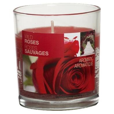 Svíčka Wild Roses, 8 x 7,2 cm, Bolsius, červená