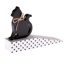 Opritor de ușă Pisică, din lemn, buline negre, 17,5 x 10 x 4 cm