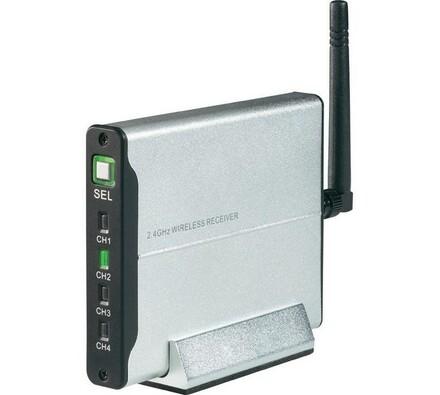 Přijímač pro bezdrátové kamery, 2,4 GHz, 4-kanály,, stříbrná