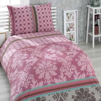 Bavlnené obliečky Damašek ružová, 140 x 200 cm, 70 x 90 cm