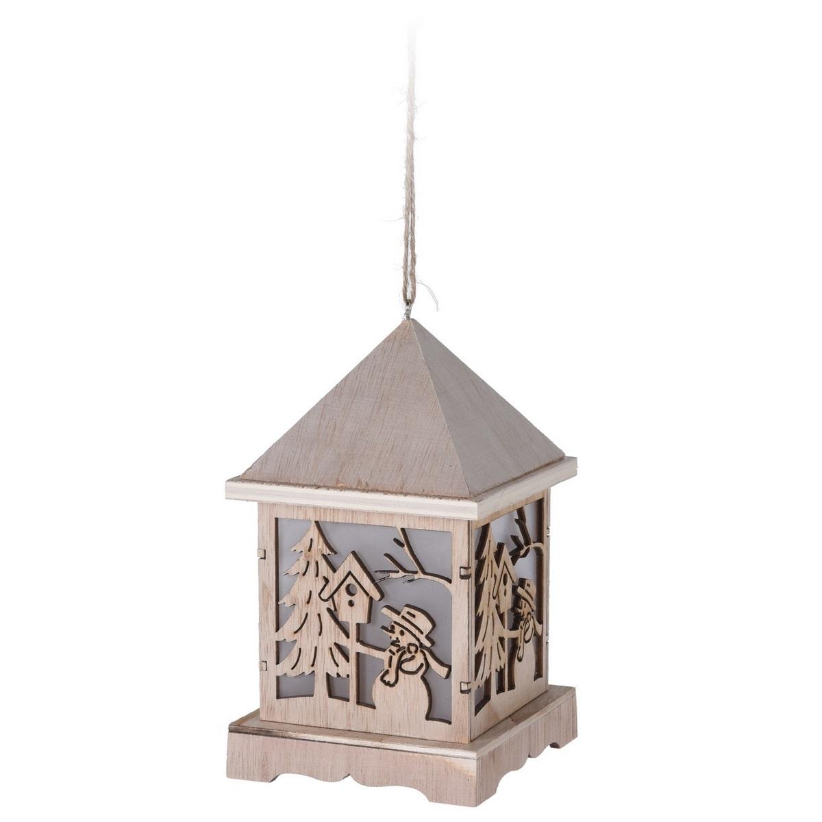 Dřevěná LED lucerna Trevi, 9,5 x 16,5 cm