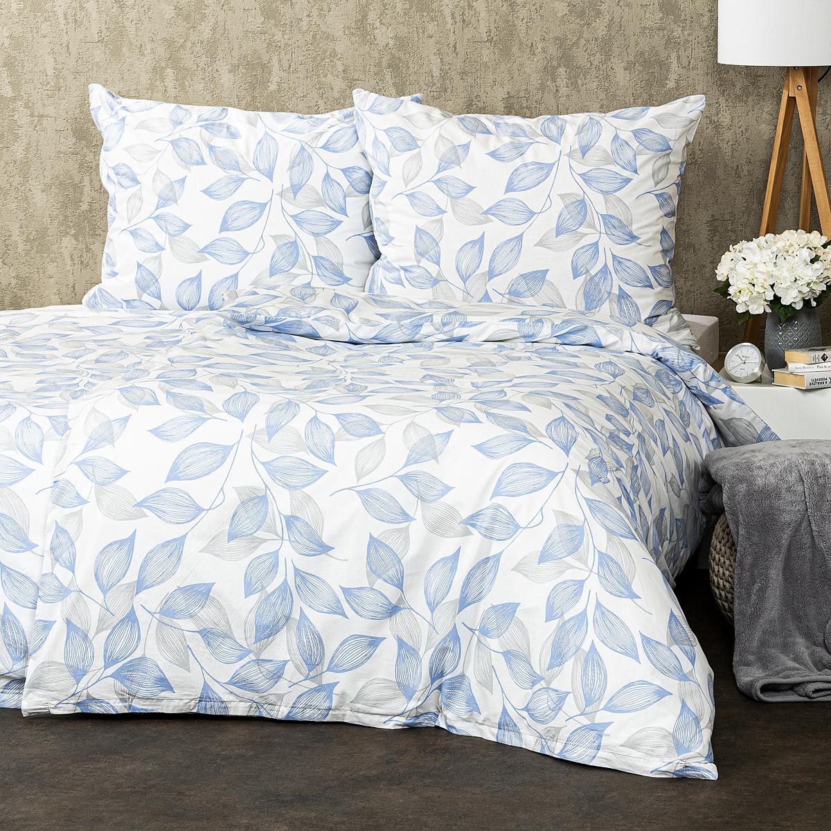 Trade Concept Bavlnené obliečky Blue leaves, 220 x 200 cm, 2 ks 70 x 90 cm