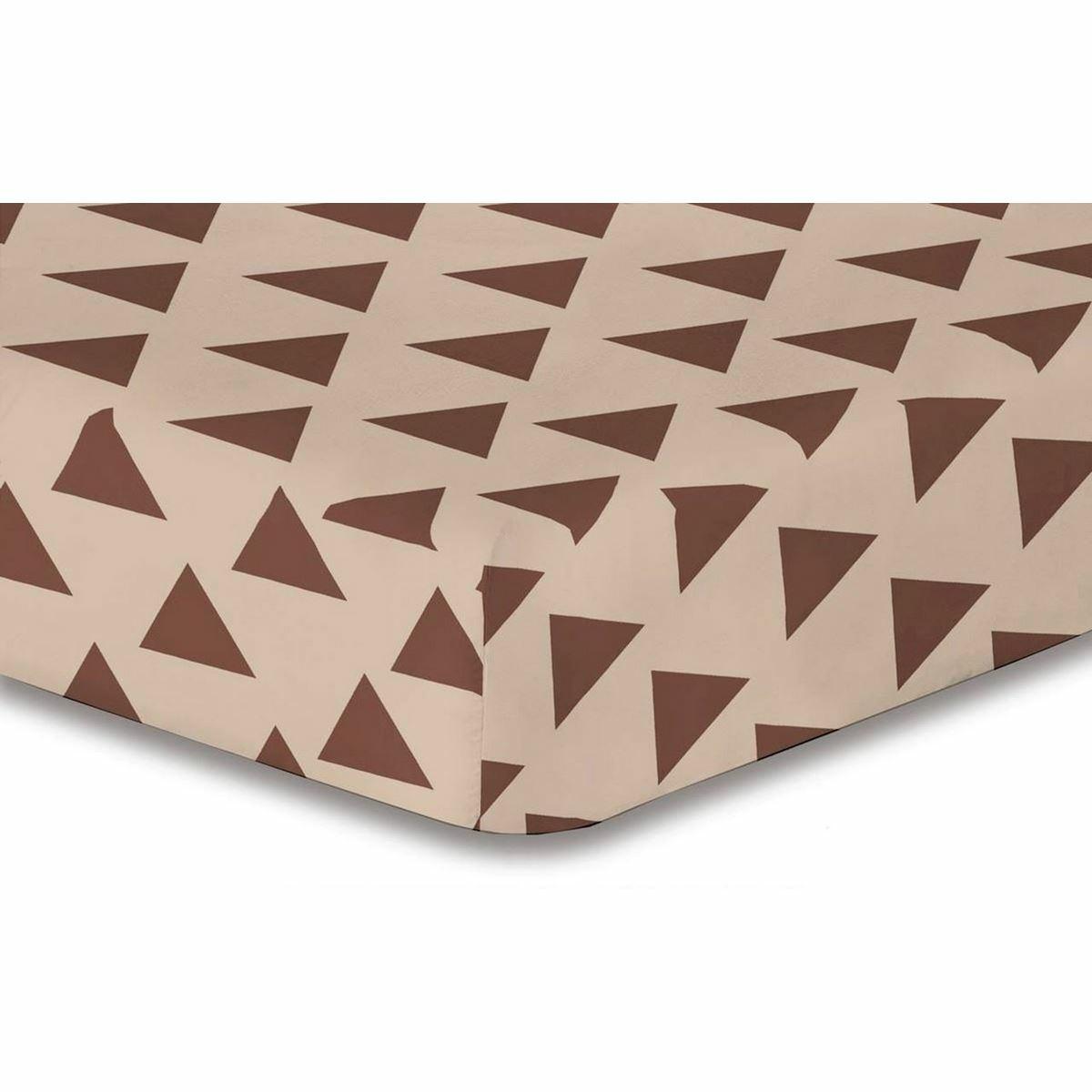 DecoKing Prostěradlo Triangles hnědá S1, 90 x 200 cm