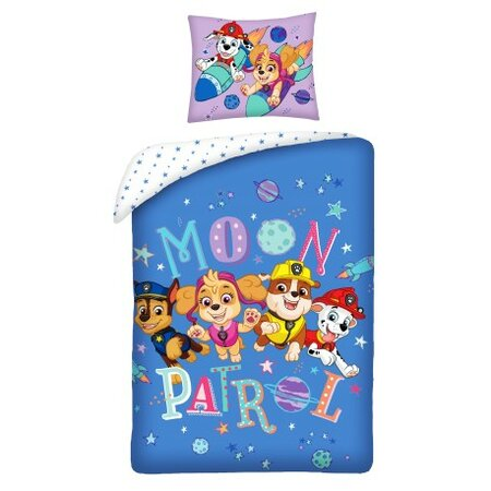 Detské bavlnené obliečky Paw Patrol Moon Patrol, 140 x 200 cm, 70 x 90 cm