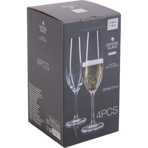 4-dielna sada pohárov na šampanské, 260 ml