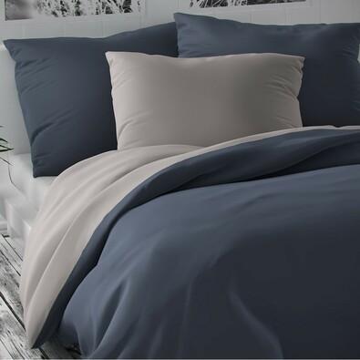 Lenjerie de pat din satin Luxury Collection,  gri deschis/gri închis, 140 x 220 cm, 70 x 90 cm