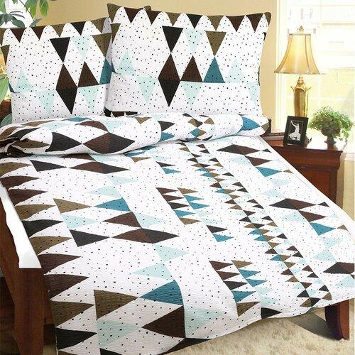 Lenjerie de pat din crep Geometrie, turcoaz, 140 x 200 cm, 70 x 90 cm