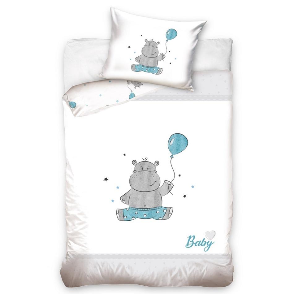 BedTex Detské bavlnené obliečky do postieľky Hrošík modrá, 100 x 135 cm, 40 x 60 cm