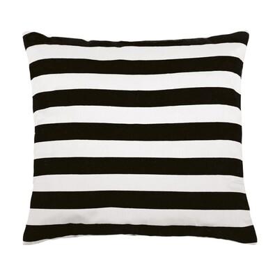 Polštářek Leona pruhy černá a bílá, 45 x 45 cm