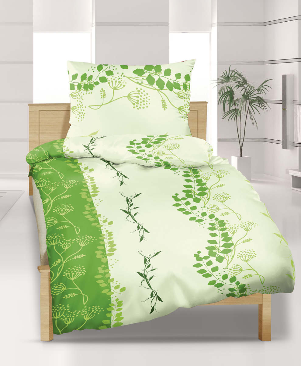 Bellatex Krepové obliečky DE Luxe Vetvička zelená, 240 x 220 cm, 2 ks 70 x 90 cm