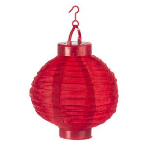 Solární LED lampión červená, pr. 20 cm