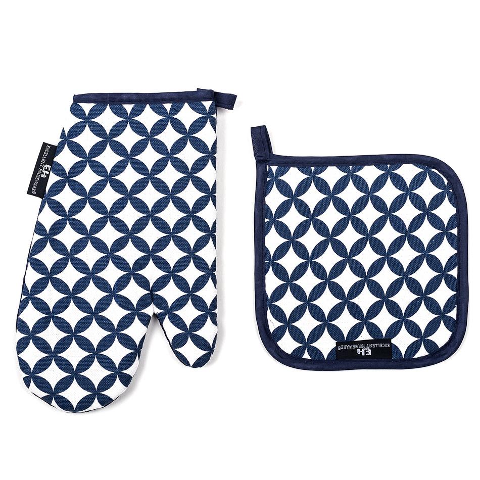 Chňapka a podložka modrá, sada 2 ks
