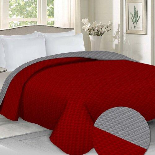Domarex Cuvertură de pat Laurine roșu/gri, 220 x 240 cm