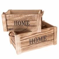 Set lădițe decorative din lemn Home 2 buc., natural
