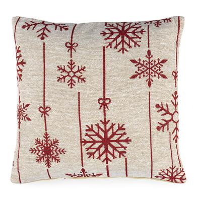 Povlak na polštářek Gobelín Vánoční vločka bílá, 40 x 40 cm
