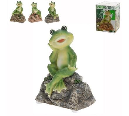Dekorativní žába na kameni, zelená, 14 x 10 x 6 cm