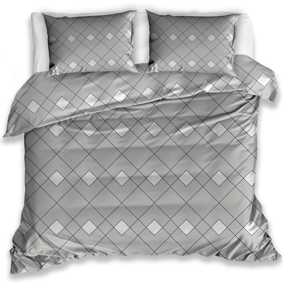 Káró pamut ágynemű, szürke, 140 x 200 cm, 70 x 90 cm