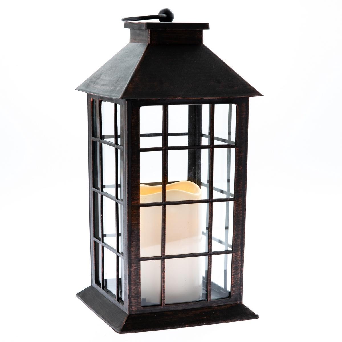 Lucerna s LED svíčkou na baterie Lille 14 x 28 cm, černá