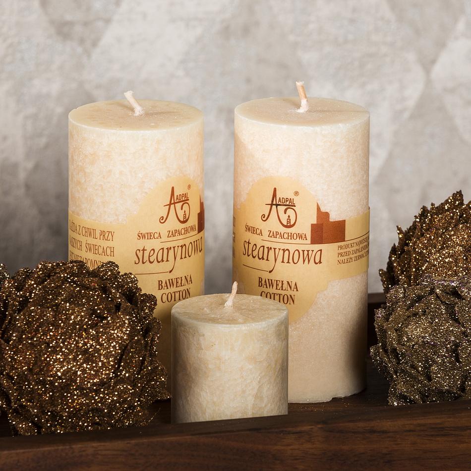 Produktové foto Stearinová svíčka Capri Bavlna, 12 cm