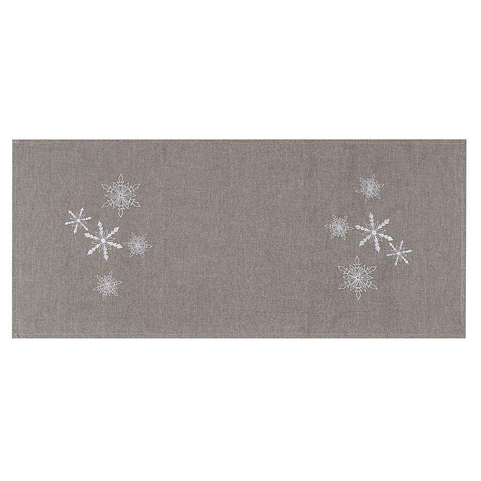 BO-MA Trading Vánoční ubrus Vločky šedá, 40 x 90 cm, 40 x 90 cm
