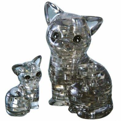 HCM Kinzel 3D Crystal puzzle Mačka s mačiatkom, 49 dielikov