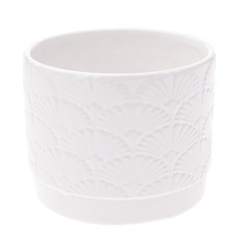 Keramický obal na květináč Shells, bílá, 11,8 x 9,8 x 9 cm