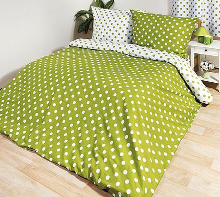 Bavlněné povlečení Puntík, zelená, 140 x 220 cm, 70 x 90 cm