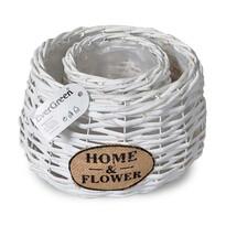 Ratanový květináč Home a Flower bílá, sada 2 ks