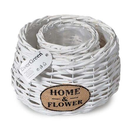 Ratanový kvetináč Home a Flower biela, sada 2 ks