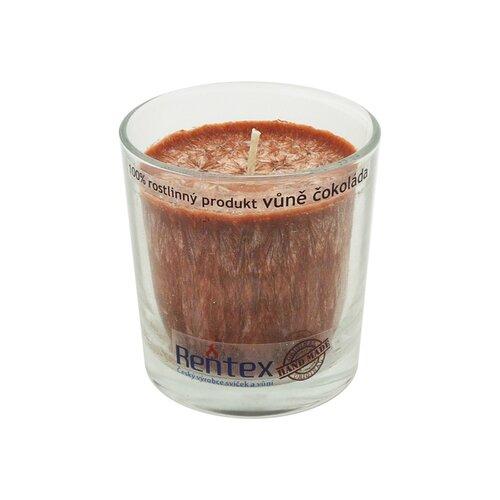 Palmová vonná sviečka v skle čokoláda