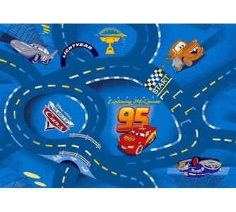 Dětský koberec Cars, modrá, 80 x 120 cm