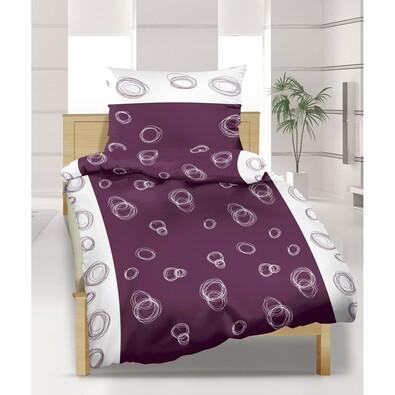 Saténové povlečení Elipsa fialová, 140 x 220 cm, 70 x 90 cm
