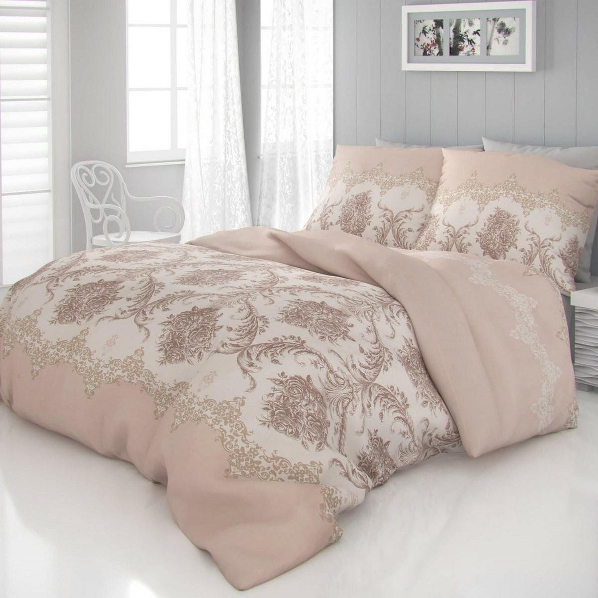 Kvalitex Saténové obliečky Luxury Collection Adra béžová, 140 x 220 cm, 70 x 90 cm