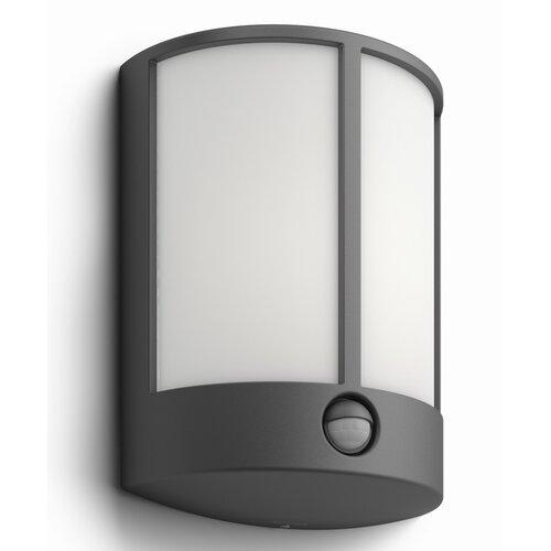 Philips 16465/93/P3 Stock Vonkajšie nástenné LED  svietidlo s čidlom 24,5 cm, antracit