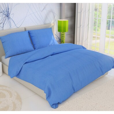Krepové povlečení modrá, 140 x 220 cm, 70 x 90 cm